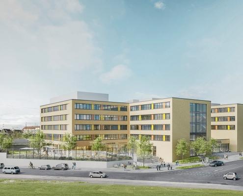 Portfolio IEP: Neubau Berufsbildungszentrum, 3-fach Sporthalle, Haus f. Kinder, Bürgerhaus, TG, Ruppertstraße 5