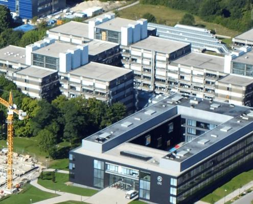 Portfolio IEP: Neubau Katalysezentrum an der TU Garching Luftansicht